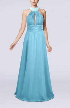 Light Blue Elegant A-line Sleeveless Zip up Floor Length Evening Dresses