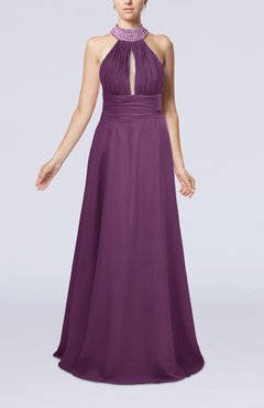 Raspberry Elegant A-line Sleeveless Zip up Floor Length Evening Dresses