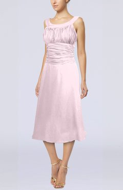 Blush Simple Sleeveless Zip up Chiffon Tea Length Prom Dresses