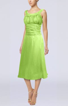 Bright Green Simple Sleeveless Zip up Chiffon Tea Length Prom Dresses