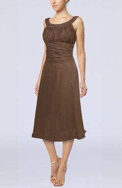 Brown Simple Sleeveless Zip up Chiffon Tea Length Prom Dresses