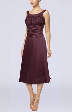Burgundy Simple Sleeveless Zip up Chiffon Tea Length Prom Dresses