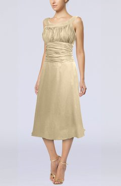 Champagne Simple Sleeveless Zip up Chiffon Tea Length Prom Dresses