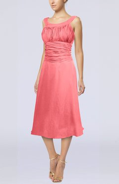 Coral Simple Sleeveless Zip up Chiffon Tea Length Prom Dresses