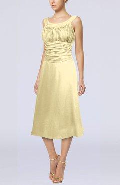 Daffodil Simple Sleeveless Zip Up Chiffon Tea Length Prom Dresses