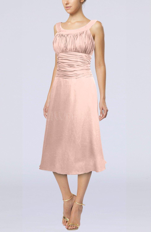 Dusty rose simple sleeveless zip up chiffon tea length for Simple cream colored wedding dresses