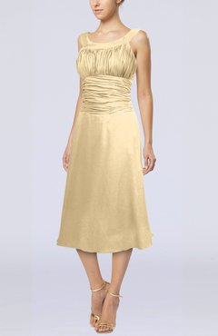 Gold Simple Sleeveless Zip up Chiffon Tea Length Prom Dresses