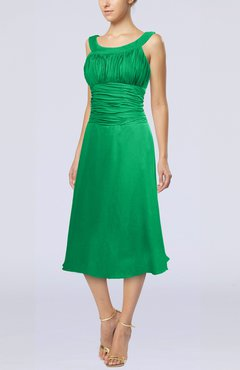 Green Simple Sleeveless Zip up Chiffon Tea Length Prom Dresses