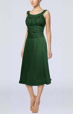Hunter Green Simple Sleeveless Zip up Chiffon Tea Length Prom Dresses