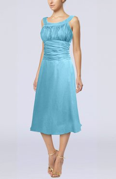 Light Blue Simple Sleeveless Zip up Chiffon Tea Length Prom Dresses