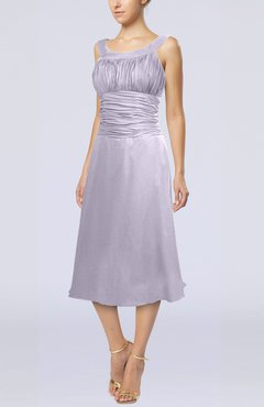 Light Purple Simple Sleeveless Zip up Chiffon Tea Length Prom Dresses
