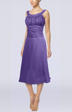 Lilac Simple Sleeveless Zip up Chiffon Tea Length Prom Dresses