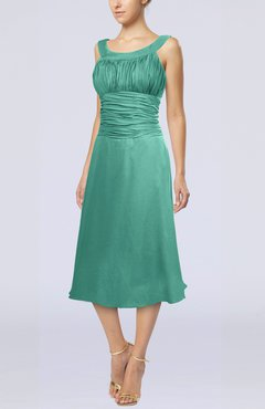 Mint Green Simple Sleeveless Zip up Chiffon Tea Length Prom Dresses
