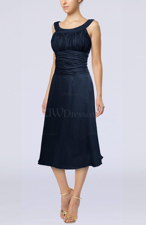 Navy Blue Simple Sleeveless Zip Up Chiffon Tea Length Prom