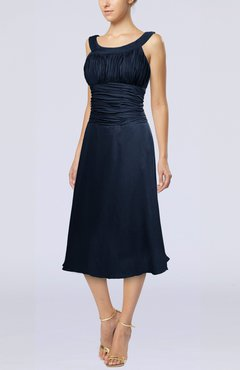 Navy Blue Simple Sleeveless Zip up Chiffon Tea Length Prom Dresses
