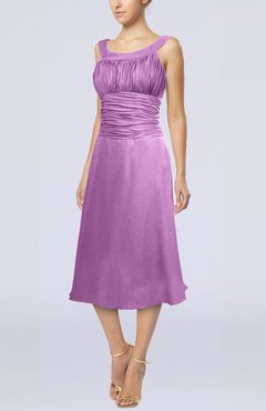 Orchid Simple Sleeveless Zip up Chiffon Tea Length Prom Dresses