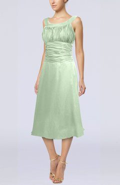 Pale Green Simple Sleeveless Zip up Chiffon Tea Length Prom Dresses
