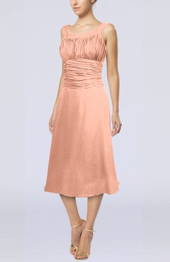 Peach Simple Sleeveless Zip up Chiffon Tea Length Prom Dresses
