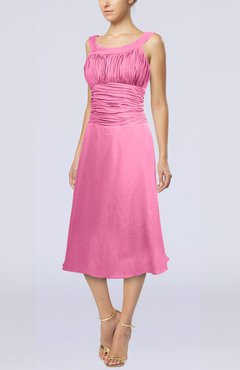 Pink Simple Sleeveless Zip up Chiffon Tea Length Prom Dresses