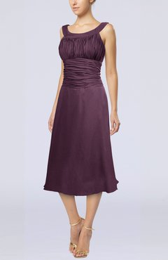 Plum Simple Sleeveless Zip up Chiffon Tea Length Prom Dresses