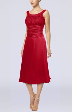 Red Simple Sleeveless Zip up Chiffon Tea Length Prom Dresses