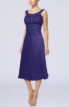 Royal Purple Simple Sleeveless Zip up Chiffon Tea Length Prom Dresses