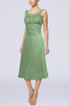 Sage Green Simple Sleeveless Zip up Chiffon Tea Length Prom Dresses