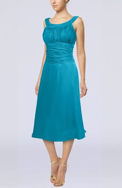 Teal Simple Sleeveless Zip up Chiffon Tea Length Prom Dresses