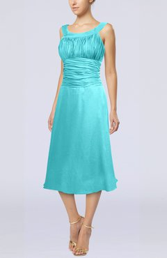 Turquoise Simple Sleeveless Zip up Chiffon Tea Length Prom Dresses