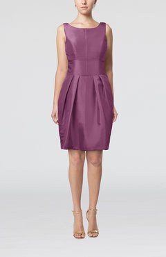Eggplant Plain Scoop Taffeta Mini Bow Bridesmaid Dresses