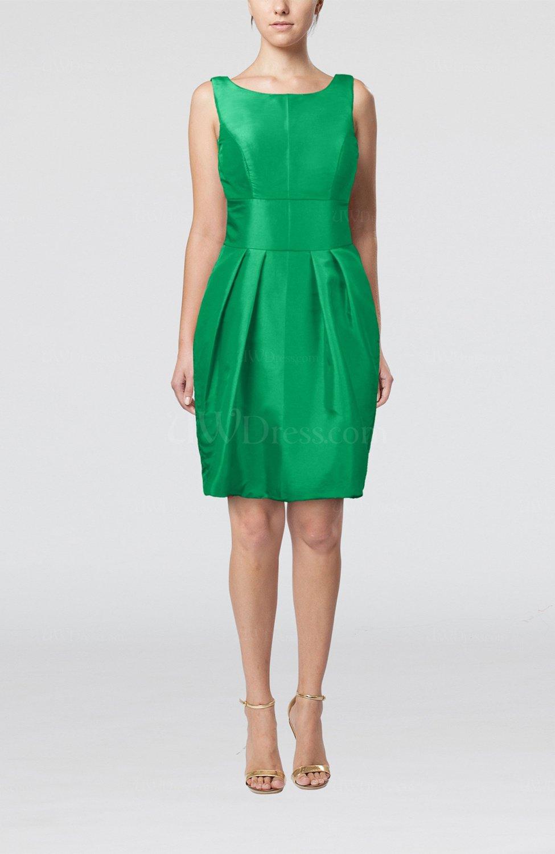 kelly green plain scoop taffeta mini bow bridesmaid