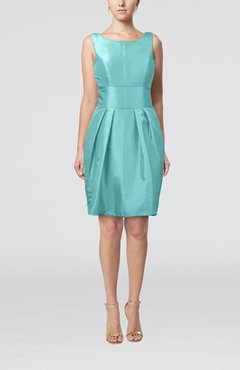 Turquoise Plain Scoop Taffeta Mini Bow Bridesmaid Dresses