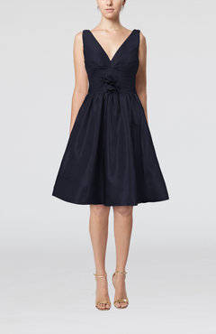 Navy Blue Modern A-line Sleeveless Zipper Ruching Bridesmaid Dresses