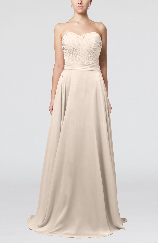 Cream simple a line sweetheart sleeveless brush train for Simple cream wedding dresses