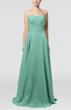 Mint Green Simple A-line Sweetheart Sleeveless Brush Train Bridesmaid Dresses