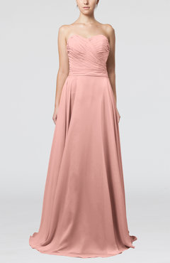 Peach Simple A-line Sweetheart Sleeveless Brush Train Bridesmaid Dresses