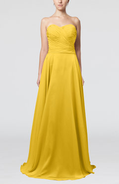 Yellow Simple A-line Sweetheart Sleeveless Brush Train Bridesmaid Dresses