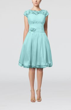 Aqua Cinderella A-line Scalloped Edge Short Sleeve Chiffon Knee Length Bridesmaid Dresses