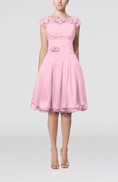 Baby Pink Cinderella A-line Scalloped Edge Short Sleeve Chiffon Knee Length Bridesmaid Dresses