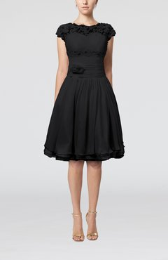 Black Cinderella A-line Scalloped Edge Short Sleeve Chiffon Knee Length Bridesmaid Dresses