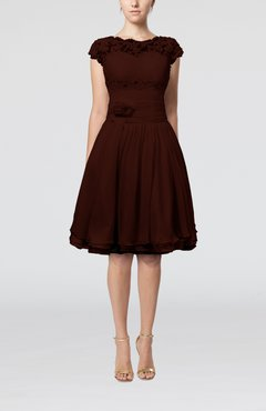 Burgundy Cinderella A-line Scalloped Edge Short Sleeve Chiffon Knee Length Bridesmaid Dresses