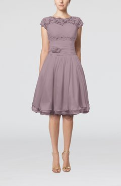 Cameo Cinderella A-line Scalloped Edge Short Sleeve Chiffon Knee Length Bridesmaid Dresses