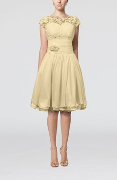 Champagne Cinderella A-line Scalloped Edge Short Sleeve Chiffon Knee Length Bridesmaid Dresses