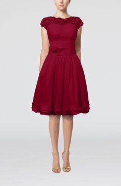 Dark Red Cinderella A-line Scalloped Edge Short Sleeve Chiffon Knee Length Bridesmaid Dresses