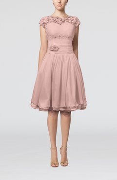 Dusty Rose Cinderella A-line Scalloped Edge Short Sleeve Chiffon Knee Length Bridesmaid Dresses