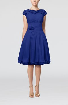 Electric Blue Cinderella A-line Scalloped Edge Short Sleeve Chiffon Knee Length Bridesmaid Dresses