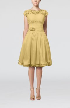 Gold Cinderella A-line Scalloped Edge Short Sleeve Chiffon Knee Length Bridesmaid Dresses
