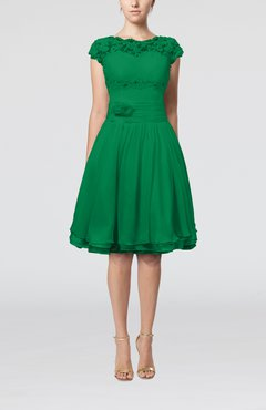 Green Cinderella A-line Scalloped Edge Short Sleeve Chiffon Knee Length Bridesmaid Dresses