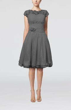 Grey Cinderella A-line Scalloped Edge Short Sleeve Chiffon Knee Length Bridesmaid Dresses
