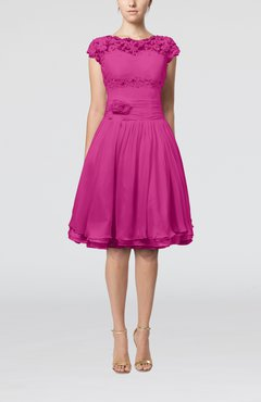 Hot Pink Cinderella A-line Scalloped Edge Short Sleeve Chiffon Knee Length Bridesmaid Dresses